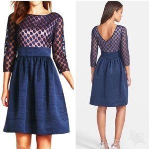 NWOT Eliza J Dot Mesh Bodice Fit & Flare Dress